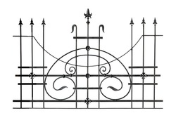 Decorative forged fencing. Isolated over white background.