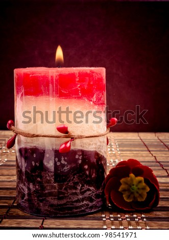 Decorative fragrant candle and red primrose