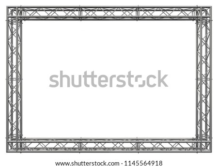Decorative frame. 3D rendering. Glossy metal spatial construction in the form of a rectangle, assembled from tubular trusses with flanges, connected with bolts and nuts. Isolated on white.