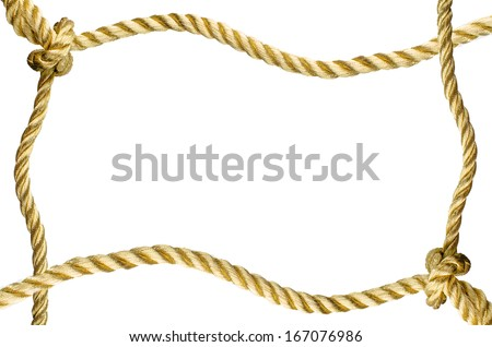 Decorative frame from a golden rope isolated on white background.