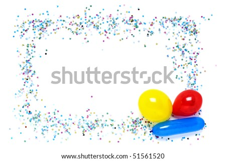decorative frame of confetti and balloons on white background