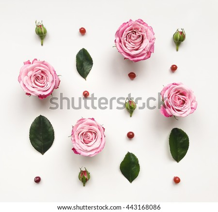 Decorative frame with pink bright roses and leaves on white background. Flat lay, top view