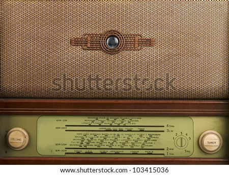 decorative front panel of an old radio, closeup - stock photo