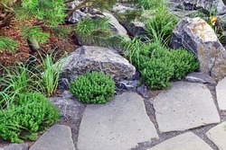 Decorative Garden With Pathway Or Walkway From Stone, Rocks and Gravel. Backyard Garden Modern Design Landscaping. Landscaped Back Yard. Back Yard Or Park Lawn With Stony Natural landscaping.
