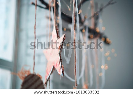 Decorative garlands. Decorative curtains on windows #1013033302