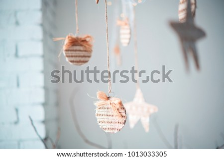 Decorative garlands. Decorative curtains on windows #1013033305