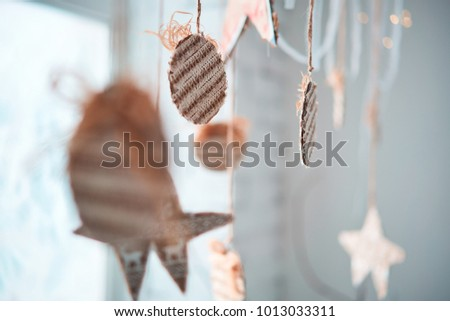 Decorative garlands. Decorative curtains on windows #1013033311