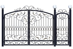 Decorative gate and door  in old  stiletto. Isolated over white background.