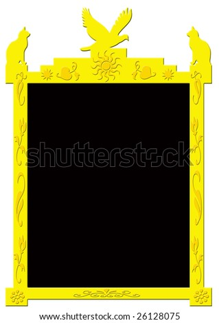 decorative golden frame on white background with a black frame