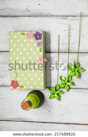 decorative green bottle and box, green decor, spring decor, bottle on a white background, box on a white background, a bottle and a box on a white background