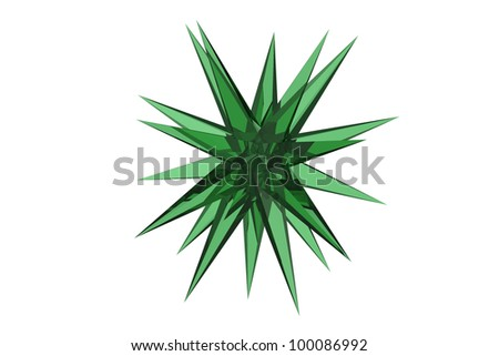 Decorative green spiky round Christmas Star isolated on white