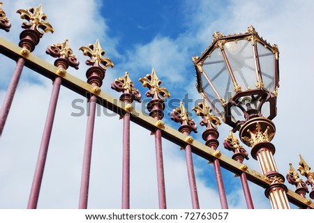 Decorative grille fence with lantern, Hofburg palace, Vienna