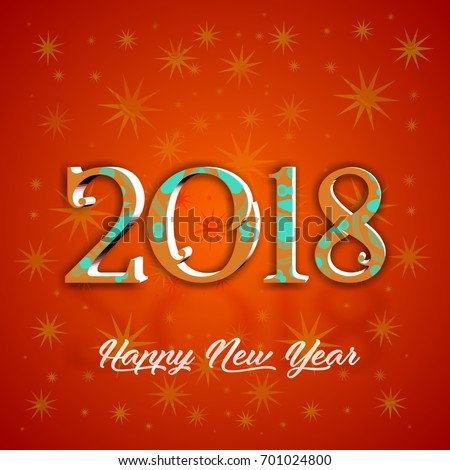decorative 2018 happy new year card poster design with the star background the best