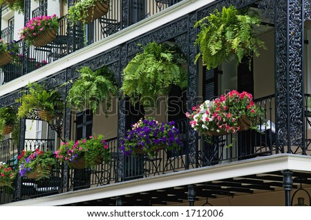Decorative Iron Balcony in the French Quarter district of New Orleans, Louisiana