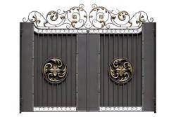 Decorative iron gate. Isolated over white background.