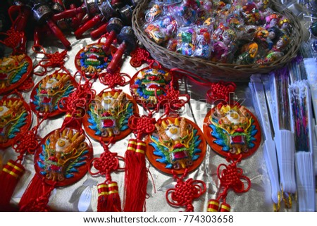 Decorative items in local market.