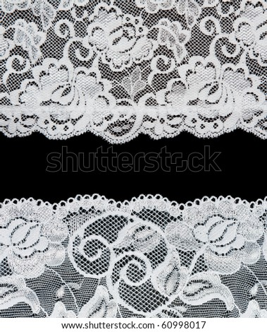Decorative lace with pattern on black background. Picture is formed from several photographies