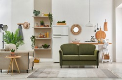 Decorative living room and kitchen background interior style, green sofa and armchair middle table, brown bookshelf and dining table style.