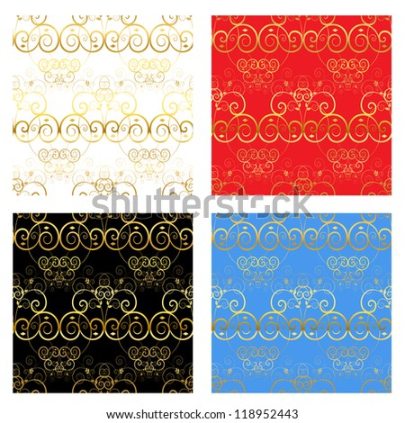 Decorative luxury gold backgrounds. Seamless repeating pattern