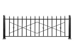 Decorative, metal barrier, fence  in old   style. Isolated over white background.