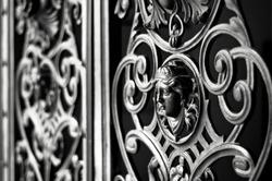 Decorative metal gate ornament. Antique iron door with classic ornaments.