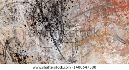 Decorative oil painting. Vibrant dynamic art. 2d illustration. Texture backdrop mix matrix form. Creative chaos structure element material creation bitmap figures. Acrylic vivid variety sketch. #1488647588