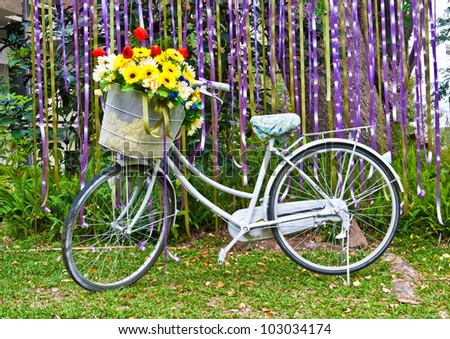 decorative old white painted  bicycle with basket of colorful flower - stock photo
