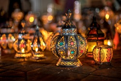 Decorative oriental lamp candle shader on street market  in Marrakech, Morocco at night
