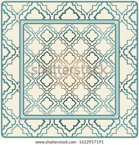 Decorative Ornament With Decorative Border. For Fashion Print, Bandanna, Tablecloth, Neck Scarf.