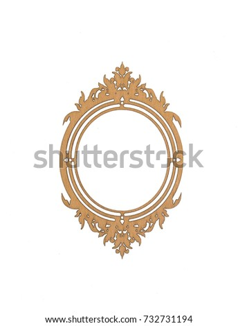 decorative ornate wooden frame, baroque style, white isolated background #732731194
