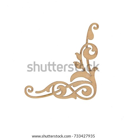 decorative ornate wooden frame, baroque style, white isolated background  #733427935