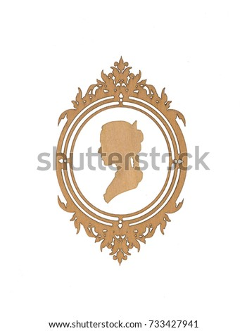 decorative ornate wooden frame, baroque style, white isolated background  #733427941