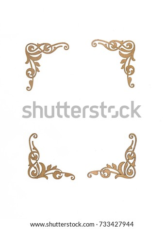 decorative ornate wooden frame, baroque style, white isolated background  #733427944