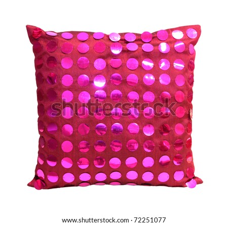 Decorative pink pillow isolated with clipping path included