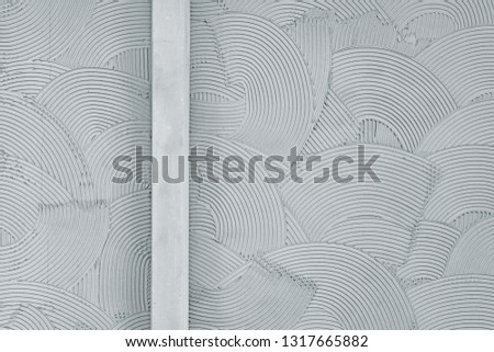 Decorative plaster wall finish texture, modern urban wavy overlapping concentric circle pattern background #1317665882