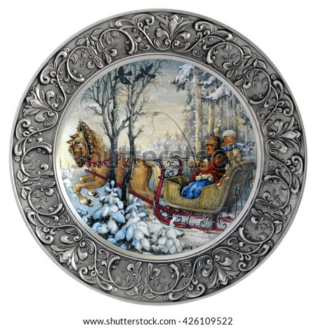 Decorative porcelain wall plate Winter in a metal frame
