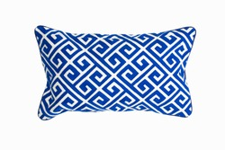 Decorative rectangular pillow, with geometric pattern in blue and white color, isolated on white background