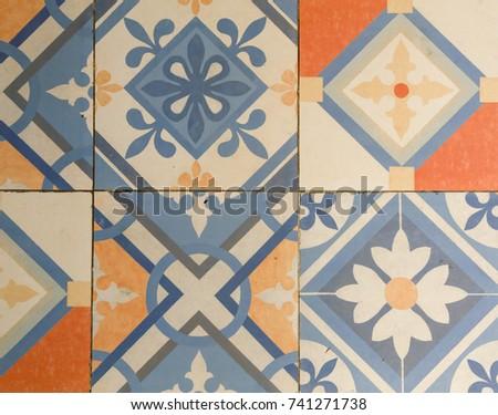 Decorative retro porcelain tiles #741271738