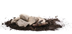 Decorative rocks in pile of soil, dirt isolated on white background