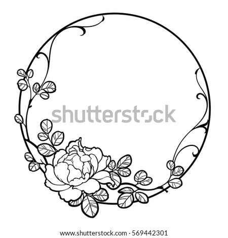 Illustration of decorative round frame with peony rose flower and ...