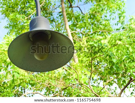 Decorative Round Street Lamp, Street Light, Light Pole or Lamppost, Used to Illuminate Surrounding Space for Decorations and Atmosphere. #1165754698