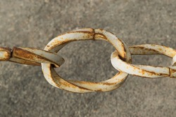 Decorative rusty chain. A close up ring.