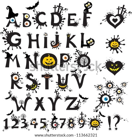 Decorative scary style alphabet, Halloween theme font.  Illustration