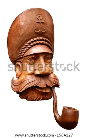Decorative seaman smoking pipe isolated with clipping path on white background