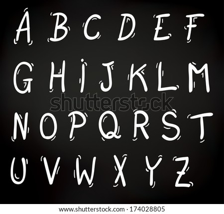 Decorative set of letters of the alphabet in uppercase or capitals in white on a black background - raster version of vector illustration