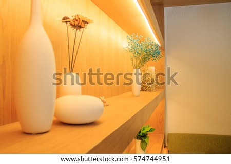 Decorative shelf in the cafe. #574744951