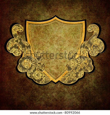 decorative shield with ribbons on the grunge background