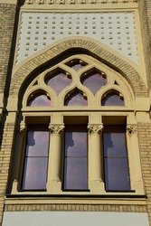 Decorative side window above Jewish Synagogue in Nitra, Slovakia. Build during years 1908 and 1911, it is a melange of Moorish, Byzantine and Art Nouveau architercutral elements, Baumhorn style.