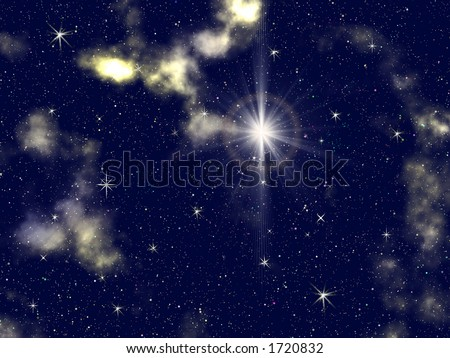 Decorative Space Background with numerous stars and nebula - stock photo