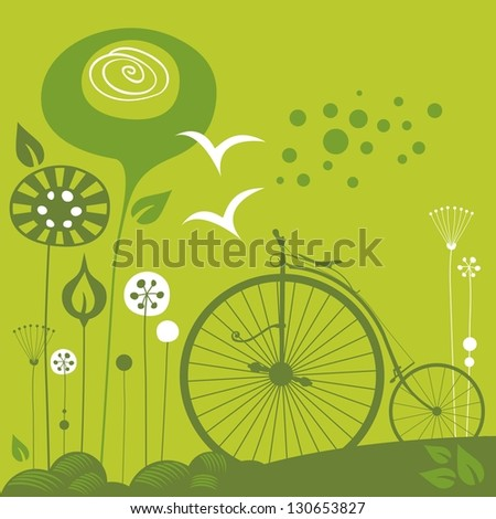 Decorative spring illustration with penny farthing